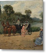 Carriage Ride By The River Metal Print