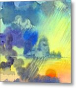Carribean Rain At Sunset Metal Print