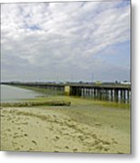 Cars Travelling On Ryde Pier Metal Print