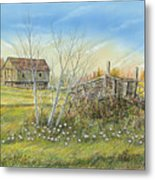 Cart And Barn On A Spring Day Metal Print