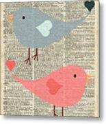 Cartoon Birds In Love  Metal Print