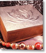 Carved Box In Aluminum. Silver Box And Red Necklace Metal Print