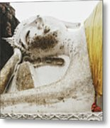 Carved Stone Buddha Statue Wat Temple Complex In Old Siam Kingdom, Ayutthaya, Thailand Metal Print