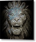 Carved Stone Lion's Head Metal Print