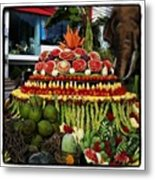 Carved Watermelon, Surin Elephant Metal Print