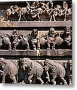 Carving On The Wall Of A Temple Metal Print