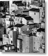Casares Pueblo. Black And White Metal Print