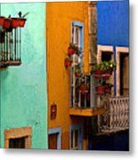 Casas In Mint Terracotta And Blue Metal Print