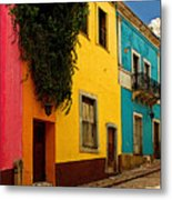 Casas In Pink Orange Yellow Blue Metal Print