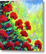 Cascade Of Geraniums Metal Print