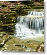 Cascading Into The Pool Metal Print