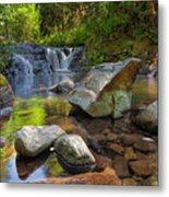 Cascading Waterfall At Sweet Creek Falls Trail Metal Print