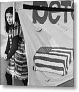 Casket On Banner Young Girl Anti Gulf War Rally Tucson Arizona 1991 Metal Print
