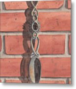 Cast Iron Welsh Love Spoon Two Metal Print