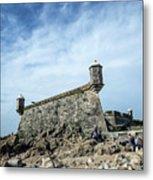 Castelo Do Queijo Old Fort Landmark In Porto Portugal Metal Print