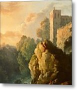 Castle And Waterfall Metal Print