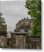 Castle Behind Cemetery Metal Print