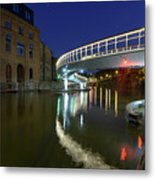 Castle Bridge A By Night Bristol England Metal Print