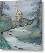 Castle By Stream Metal Print
