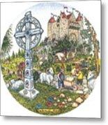 Castle Cross Circle Metal Print