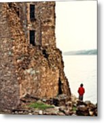 Castle Ruins On The Seashore In Ireland Metal Print