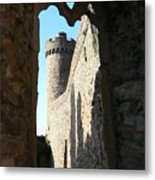 Castle Tower Thru Window Metal Print
