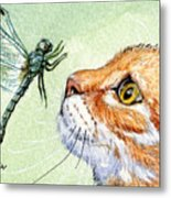 Cat And Dragonfly  Metal Print