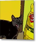 Cat And Rice Metal Print