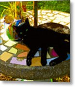 Cat And Table Metal Print