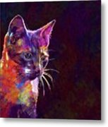 Cat Background Image Cute Red  Metal Print