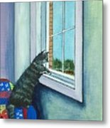 Cat By The Window Metal Print