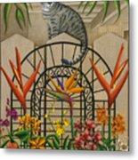Cat Cheetah's Fence Metal Print