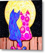 Cat Couple Full Moon Metal Print