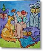 Cat Family Gathering Metal Print