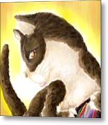 Cat Got Your Pouch Metal Print