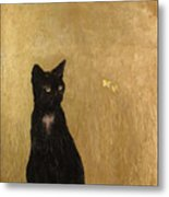 Cat In A Garden Metal Print