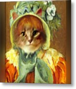 Cat In Bonnet Metal Print