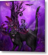 Cat In Goth Witch Hat Metal Print
