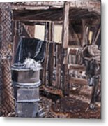 Cat In The Barn Metal Print