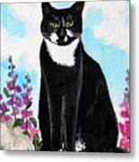 Cat In The Garden Metal Print