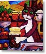 Cat In The Kitchen Bottling Fruit Metal Print