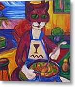 Cat In The Kitchen Making Soup Metal Print