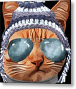 Cat Kitty Kitten In Clothes Aviators Toque Beanie Metal Print