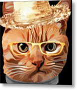 Cat Kitty Kitten In Clothes Yellow Glasses Straw Metal Print