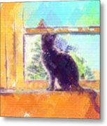 Cat Looking Out The Window Metal Print