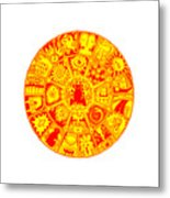 Cat Mandala Yellow And Red Metal Print