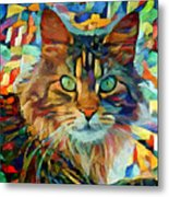 Cat On Colors Metal Print