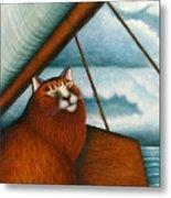 Cat On Sailboat Metal Print