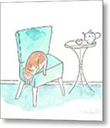 Cat On The Blue Chair Metal Print