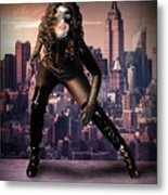 Cat On The Town Metal Print